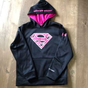 Girl's Under Armour Superman Hoodie sz YMD NWOT